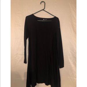 Plain Black Long Sleeve Dress